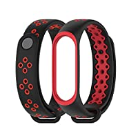 MEEFIX Wrist Strap TPU Bracelet Replacement Wristband for Xiaomi Mi Band 4 (Black-Red)
