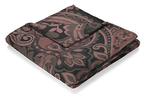biederlack Metropolitan Decke, Baumwollmischung, rot, Doppelbett, 200x 150cm -