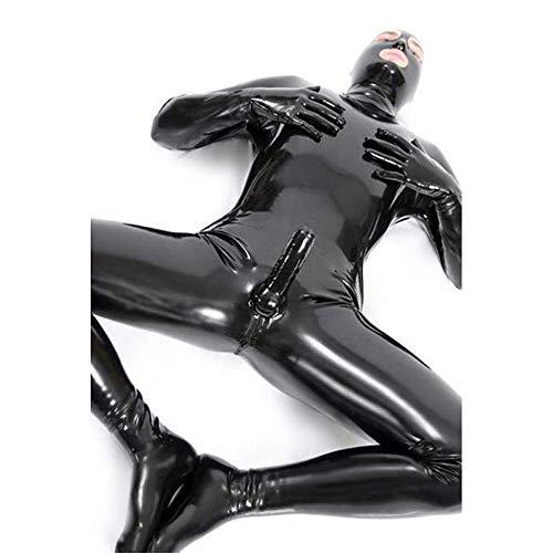Lackleder Catsuit Zentai Bodysuit für Herren Wetlook Glänzender PVC Overall mit offenen Augen und Mund (schwarz)