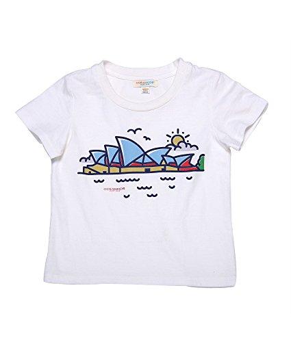 Oceankids Mädchen Baumwoll Graphik Shirt Runder Kragen Kinder T-Shirt mit Sydney-Theater-Muster - Weiß 24M 2 Jahre (Kleinkinder Force T-shirt Air)