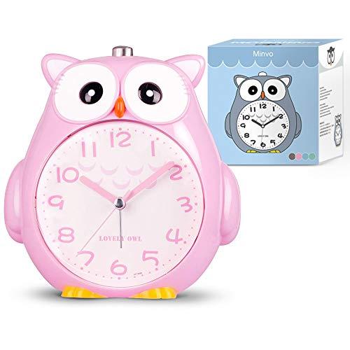 Wecker Kinder Ohne Ticken Analog Quartz Kinderuhr für Jungen und Mädche nachtlicht, Schlafzimmer Snooze Funktion wecker mit nachtlicht Baby (pink, small)