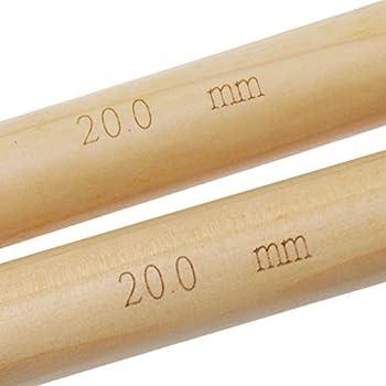 2pcs 20mm Aiguilles à Tricoter Bambou Bio à Pointe Unique Longueur 41cm