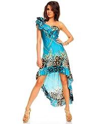 Sexy One-Shoulder Vokuhila Kleid Tanzkleid kurz, diverse Farben