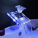 Badezimmer Küche Armaturen für Waschbecken - Zeitgenössisch - LED/Wasserfall - Messing ( Chrom )
