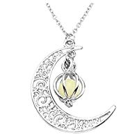 JSDDE Chic Glow In The Dark Green Pumpkin With Crescent Moon Pendant Necklace Jewelry , Halloween Gift