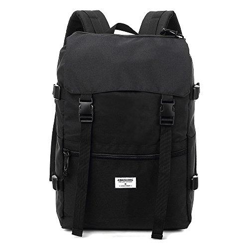 Reiserucksack - Wasserdicht - Laptop Rucksack 15-15.6 Zoll Damen Herren Unisex Schulrucksack Daypacks für Outdoor Freizeit Schwarz vom KINGSLONG