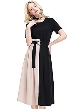 El vestido de la nueva cintura de manga corta de las nuevas mujeres con la falda larga de costura , 1 , XL