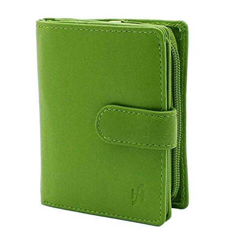 StarHide® Damen Echtes Leder Brieftasche Geldbörse Mit Seitlich Gesicherte Reißverschluss Münze Tasche & ID-Karte Fenster, Kommt Präsentiert In Einem Geschenkbox #5530 (Grün) -