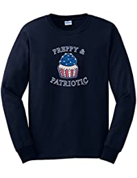 Preppy Patriotic Cupcake American Flag 4th of July Long Sleeve T-Shirt