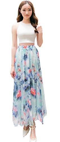 Damen Retro Chiffon Blender lang Maxi Rock Vintage Kleid Blau - #11