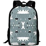 best& Cute Polar Bear Blue Gray Casual Laptop Backpack School Bag Shoulder Bag Travel Daypack Handbag