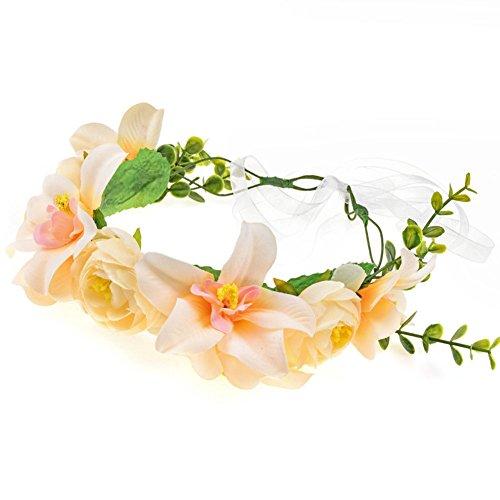 1X Toruiwa Braut Haarband Stirnband Haarkranz Blumenkranz Garland mit Lilienblume für Hochzeit Parteien (Champagner) (Braut Champagner Kopfstück)