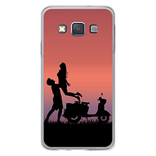 BJJ SHOP Transparent Hülle für [ Samsung Galaxy A3 2015 ], Klar Flexible Silikonhülle, Design: Landschaft mit Paaren und Motorroller