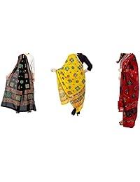 Kalpit Creations Women's Cotton Embroidery & Mirror Work Stylish Ethinic Multicolour Dupattas & Stoles (Black-Lemon-Red)