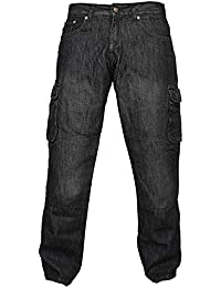 Hommes denim noir de protection moto Moto Biker Pantalons Pantalons Jeans Cargo renforcé avec protection Aramide Doublure