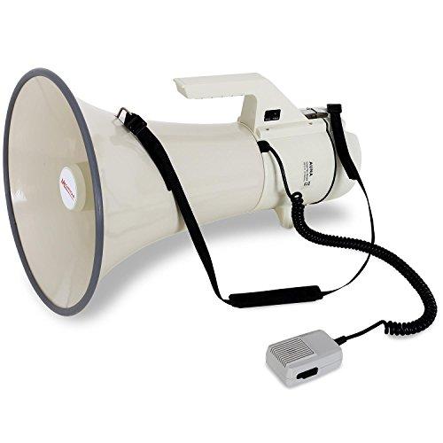 auna Profi Megaphone Megafon Handmikrofon (160W Leistung, Reichweite bis 2400m, Anti-Larsen Mikrofon, Sirene Funktion, Tragegurt, robustes Gehäuse, wetterfeste Bauweise) weiss