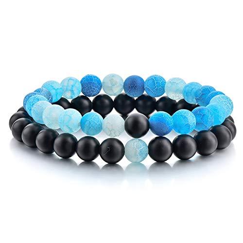 YCWDCS Armband 2 Teile/Satz Casual Naturstein Perlen Armbänder Armreifen Für Frauen Persönlichkeit Handgemachten Schmuck Machen Armband