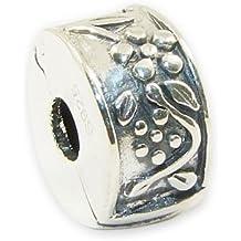 Andante-Stones - original, cuenta de plata de ley 925 sólida cierre a presión, elemento separador con flores talladas, elemento bola para pulseras modulares European Beads + saco de organza