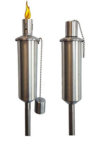 Edelstahl Gartenfackel - Höhe 115 cm - 1er gerade Form - rostfreie Öllampe