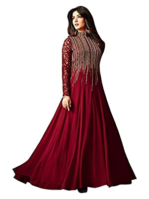 4Fashion Empire Georgette maroon Anarkali Suit In Wine Colour (4Fashion empireER10494_free size_Maroon)