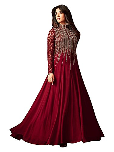 khileshwai fashion Georgette maroon Anarkali Suit In Wine Colour ( free size_Maroon)