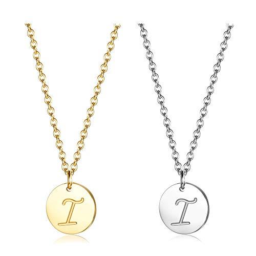 Finrezio Zwei Edelstahl Halskette mit Buchstaben Runder Initial-Anhänger Silberton und vergoldet 18K Buchstabenhalskette für Damen Buchstabe I