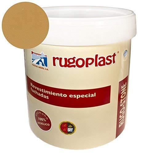 Pintura revestimiento especial fachadas Rugo Stone Colores ideal para dar un toque de color a las paredes exteriores de tu casa (4L, Albero Intenso) Envío GRATIS 24 h.