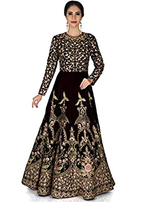 Shree Impex Embroidered Heavy Silk Semi Stitched Anarkali Gown (Freesize)