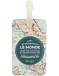 Mr. Wonderful Étiquette de Bagage - Je Veux parcourir Le Monde, 16 cm, Multicolore