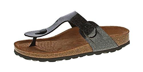 Natural Power Damen Zehentrenner Bio Pantoletten Leder-Tieffußett Sandalen Schuhe Latschen Orion-Schwarz Gr. 36