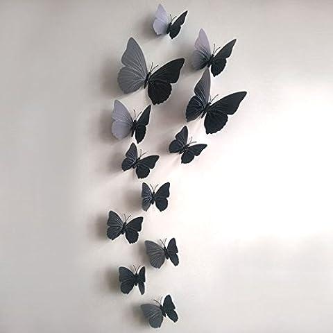 12pcs 3d DIY mariposa pegatina de pared manualidades mariposa decoración para el hogar sala pegatinas, negro, 12 cm L X 7 cm W