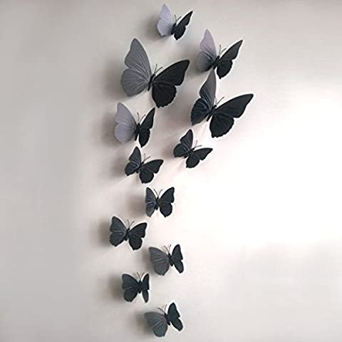 12 pcs 3D DIY Butterfly Wall Sticker Crafts Butterfly Home Decor Room Stickers (Black)