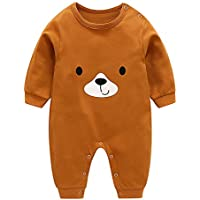 uBabamama Autumn Sale!!! Lovely Cartoon Printed Jumpsuit for 0-18 Months Toddler Baby Girl Boys Long Sleeve Comfort Pajamas Outfits (Brown,90)