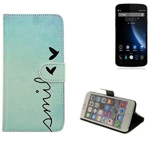 K-S-Trade® Für Doogee X6S Hülle Wallet Case Schutzhülle Flip Cover Tasche Bookstyle Etui Handyhülle ''Smile'' Türkis Standfunktion Kameraschutz (1Stk)