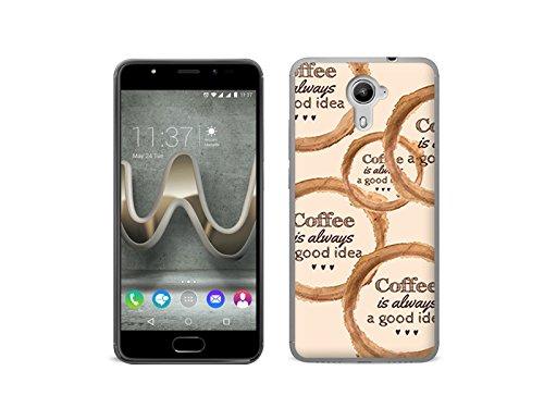 etuo Handyhülle für Wiko Ufeel Prime - Hülle Fantastic Case - Zeit für Kaffee - Handyhülle Schutzhülle Etui Case Cover Tasche für Handy