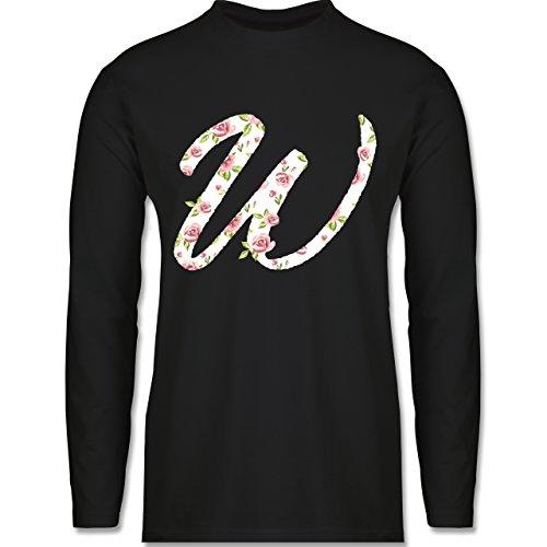 Anfangsbuchstaben - W Rosen - Longsleeve / langärmeliges T-Shirt für Herren Schwarz