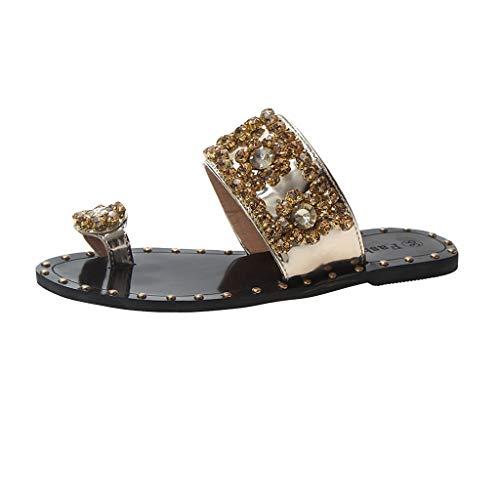 xmansky Damen Sommer Sandalen Wedges Leopard Casual Schuhe Strap Gladiator Roman Sandalen, Neue Sommer-Frauen beschuht Art- und Weisekristallniet-Flache-verfolgte offene Sandelholze