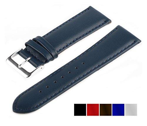 MARCHEL Glattleder LLB Lederarmband Echtleder Uhrenarmband Uhrband Uhrenbänder Rindsleder Feines Leder Uhr Band (20 mm, Blau)
