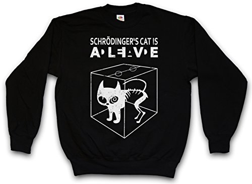 SCHRÖDINGERŽS CAT IS ALIVE DEAD II PULLOVER SWEATER SWEATSHIRT MAGLIONE - The Big Schroedinger TV Bang Theory Sheldon Taglie S - 5XL