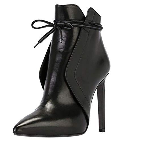 MXJEEIO Botas para Mujer Invierno Tacón Alto Botines Mujer Tobillo Plataforma Cuña Zapatos Tacon Aguja...
