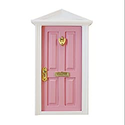 Magideal 1/12 Scale Dolls House Miniature Pink Wooden 4-Panel Inwardly Door