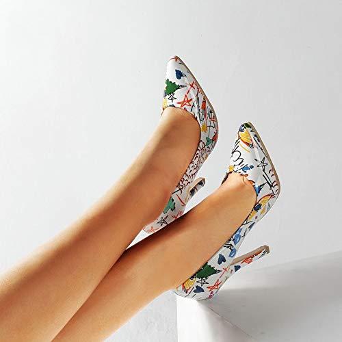 Vivioo scarpe da donna graffiti scarpe da sposa colorate per feste taglia grande 35-42 scarpe a punta tacco alto da donna-white,7