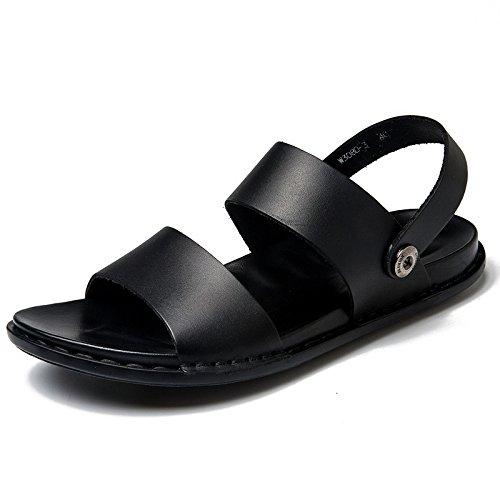 Hope Männer Schwarz Leder Slip-on Sandalen Jungen Slipper Atmungsaktiv Cool Beach Schuhe Sommer Im Freien Wandern und Wandern,Black-44 -