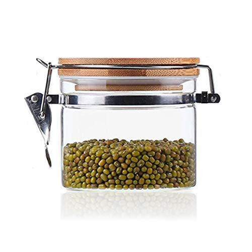 Usmascot barattoli di vetro con coperchio in bambù, vetro borosilicato alto, anello di tenuta ermetico, vasetti di conservazione per tè caffè erbe spezie zucchero contenitori per alimenti (500ml)