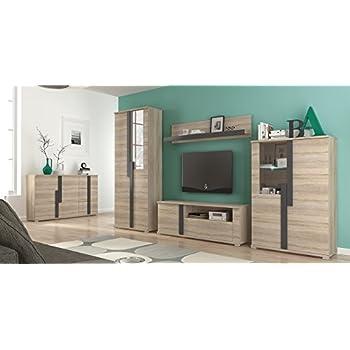 Dieser Artikel Wohnwand Mit Sideboard Wohnzimmer Komplett MARKUS Sonoma Eiche Beleuchtung