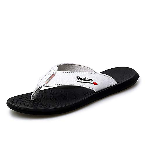 BBTK Herren Hausschuhe Flip-Flops Casual Slip On Style OX Leder Einfache Pure Color Massage Einlegesohlen Mode (Color : Weiß, Größe : 43 EU)