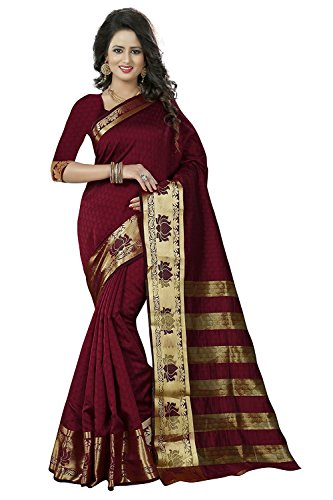 J B Fashion Women's Cotton Silk Sarees With Blouse Piece (Je-1-Maroon )