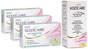 Kozicare Kojic Acid, Vitamin E, Arbutin Skin Lightening Soap, 75g (Pack of 3) and Kozicare Skin Whitening Fairness Oil (Kojic Acid, Glutathione, Arbutin, Vitamin E) , 60ml