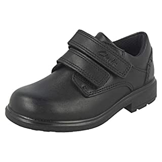 Clarks Boys Double Strap School Shoes Remi Pace - Black Leather - UK Size 3.5H - EU Size 36 - US Size 4XW