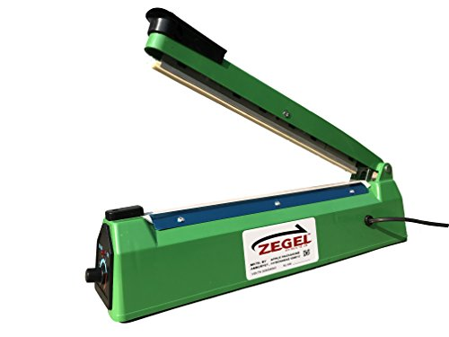"Zegel Hand Operated Plastic Body Sealing Machine 8"" for Plastic Pouch Packaging"